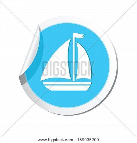 Sailboat icon on the sticker. Vector illustration