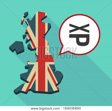 Map Of Uk With  A Tongue Sticking Text Face Emoticon