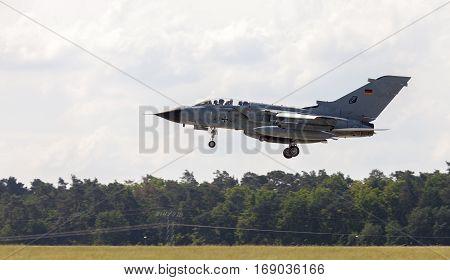 BERLIN / GERMANY - JUNE 3 2016: german Panavia Tornado lands on airport schoenefeld berlin / germany at june 3 2016.