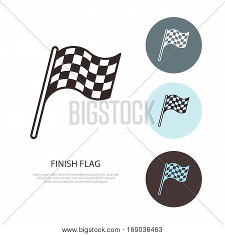 Checkered flags vector line icon. Speed automobile, racing car logo, driving lessons sign. Auto championship illustration.