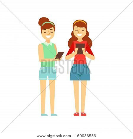 Two Girls Tooking At Their Tablets Standing, Person Being Online All The Time Obsessed With Gadget. Modern Technology Devices And Internet Life Impact Simple Vector Illustration.