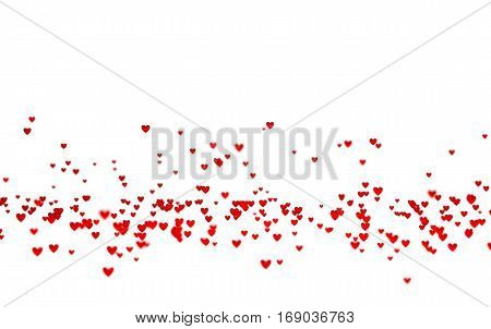 3D illustration of Lots of Tiny Red Hearts in Down with a Defocus Effect with a white background