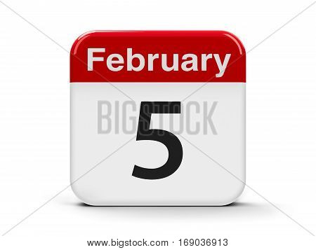 Calendar web button - The Fifth of February three-dimensional rendering 3D illustration