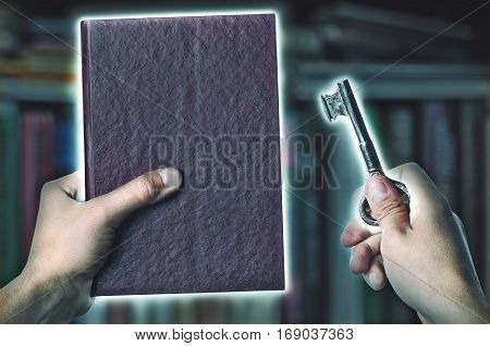 Magic Book And Key With Magic Light