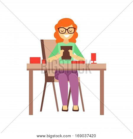 Woman Looking At Screen Of Tablet While Having Lunch, Person Being Online All The Time Obsessed With Gadget. Modern Technology Devices And Internet Life Impact Simple Vector Illustration.