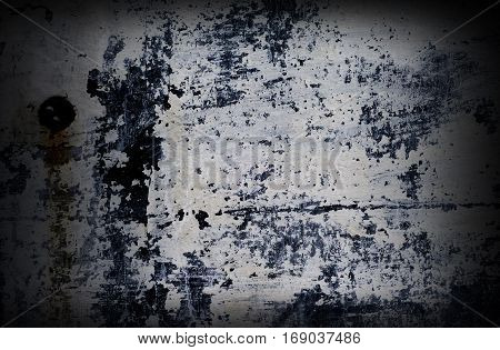 Dramatic grunge painted with white color wall with black splashes and scratches background for grunge design