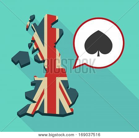 Map Of Uk With  The  Spade  Poker Playing Card Sign
