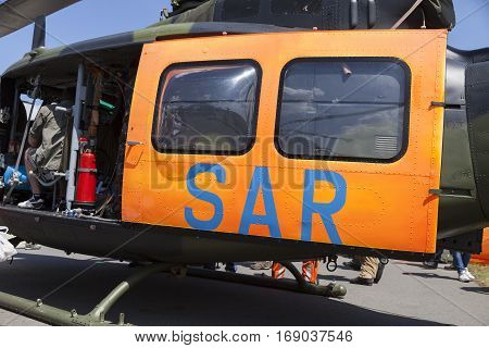 BERLIN / GERMANY - JUNE 3 2016: SAR ( Search and Rescue ) door from a german army helicopter. SAR is the search for and provision of aid to people who are in distress or imminent danger.
