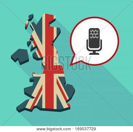 Map Of Uk With  A Microphone Sign