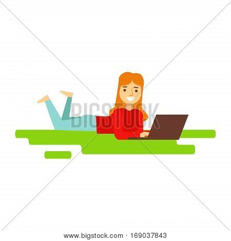 Girl Laying On The Grass WIth Lap Top, Person Being Online All The Time Obsessed With Gadget. Modern Technology Devices And Internet Life Impact Simple Vector Illustration.