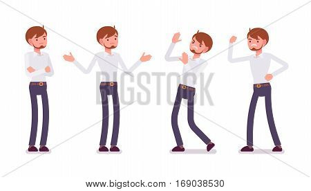 Set of young unhappy male clerk in formal wear, showing negative emotions, puzzled worker, troubled with deadline, crossed hands, aggressive, full length, isolated against white background