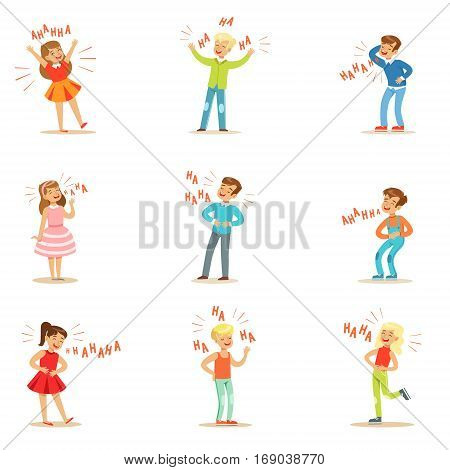Kids Hysterically Laughing Out Loud Set Of Cartoon  Vector Illustrations With People Smiling And Having Fun With Hahaha Text.