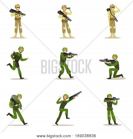 Infantry Soldiers In Full Military Khaki Uniform With Guns During War Operation Set Of Cartoon Land Forces Cartoon Characters. Vector Illustration With Infantrymen At Their Duty.