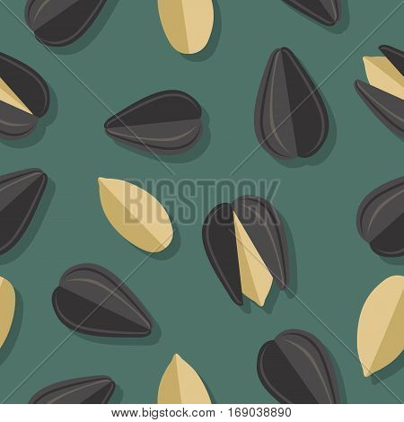 Sunflower seeds seamless pattern. Ripe sunflower seed in flat. Sunflower seeds on a dark green background. Several sunflower seeds. Healthy vegetarian food. Vector illustration