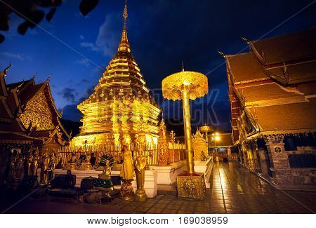 Buddhist Temple At Night Sky In Thailand