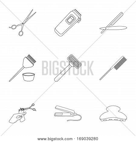 Hairdresser set icons in outline style. Big collection of hairdresser vector symbol stock