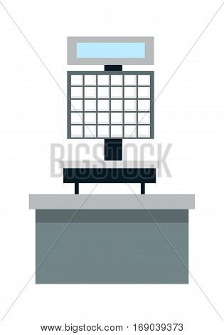 Automatic electronic check printing scales vector illustration. Flat design. Supermarket, grocery shop furniture and equipment. Self-service devices for weighing and shopping. Isolated on white.
