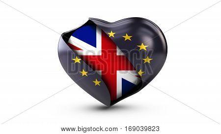 3d Illustration of EU Flag and flag of United Kingdom, isolated white