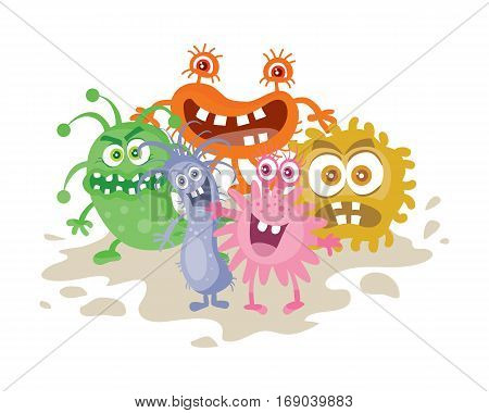 Set of cartoon monsters. Funny smiling germs. Character with big eyes. Microorganism bacterias with tooth, hands, open mouth. Vector funny illustration in flat design. Friendly viruses. Microbe faces