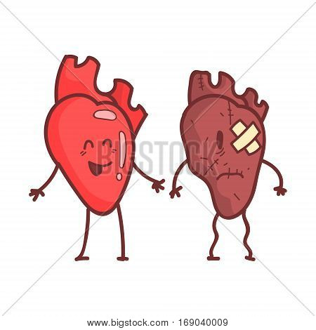 Heart Human Internal Organ Healthy Vs Unhealthy, Medical Anatomic Funny Cartoon Character Pair In Comparison Happy Against Sick And Damaged. Vector Illustration Humanized Anatomic Elements.