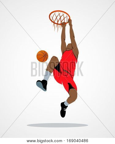 Abstract basketball player with ball on a white background. Photo illustration.