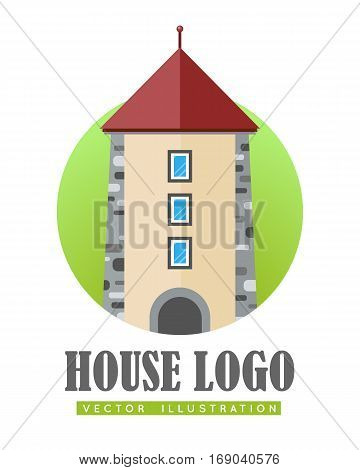 House logo vector illustration web button icon sign symbol. Three storey building with windows. Tower center modern building sign. Flat style logo in circle. For building company