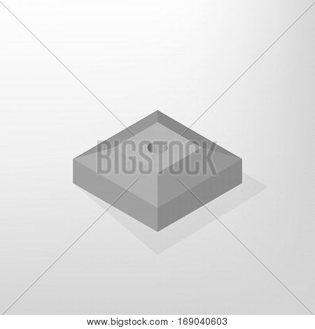 Iron concrete stand for road sign isolated on white background. Design elements for reconstruction. Flat 3D isometric style vector illustration.
