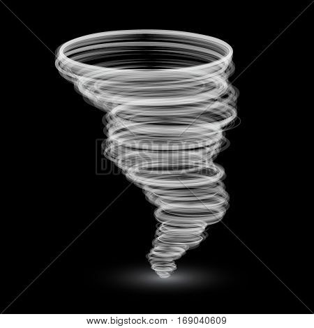 abstract white tornado isolated on black background.Vector illustration