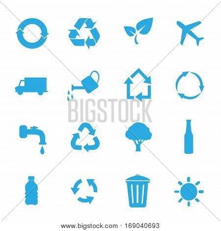set of environmental / recycling icons on white