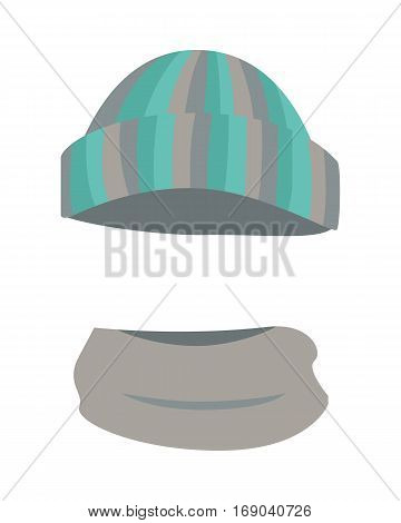 Hat. Woolen warm striped headwear and grey scarf twisted around. Round hat with green, grey, silver, dark stripes. Warm winter stuff on white background and flat design. Vector illustration.