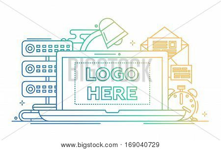 Work place - vector modern line design illustration with copyspace for Your Logo. Laptop, lamp, clock, mail, server - color gradient