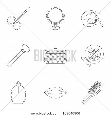 Make up set icons in outline style. Big collection of make up vector symbol stock