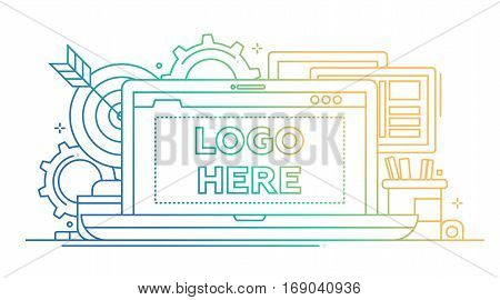 Marketing - vector modern line design illustration with with copyspace for Your Logo. Laptop, work place, darts - color gradient