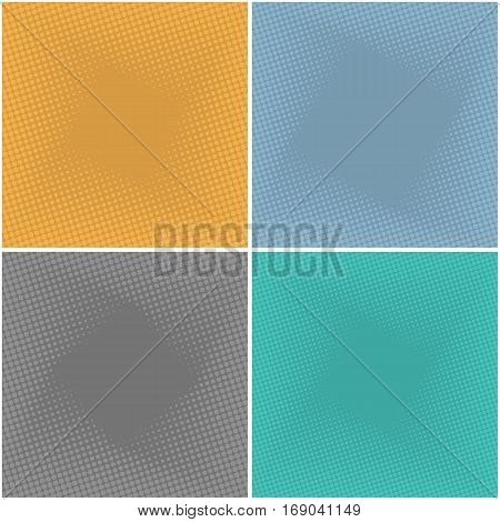 Set of abstract backgrounds with half tone effects. Dots textures with place for text vector illustration.