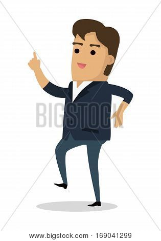 Man dancing with finger up. Happy boy finds solution for problem. Successful idea banner. Satisfied male with results brainstorm isolated on white. Handsome man solved trouble. Vector illustration