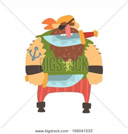 Scruffy Pirate With Eye Patch And Bandana Holding Knife In Teeth, Filibuster Cut-Throat Cartoon Character.