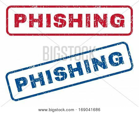 Phishing text rubber seal stamp watermarks. Vector style is blue and red ink caption inside rounded rectangular shape. Grunge design and scratched texture. Blue and red emblems.