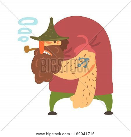 Hunchback Scruffy Pirate With Pipe And Anchor Tattoo, Filibuster Cut-Throat Cartoon Character.