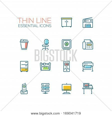Office Supplies - modern vector plain simple thin line design icons and pictograms set with accent color. Locker, copier, chair, safe, fax, trash basket, cabinet, computer, plotter, cutter, phone, server work place display. Material design concept symbols
