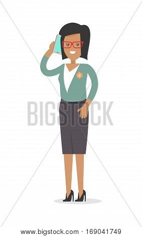 Office worker. Rich woman in official cloth isolated on white. Elegant female with telephone. Successful business woman. Young lady in stylish apparel. Beautiful woman leads conversation. Vector