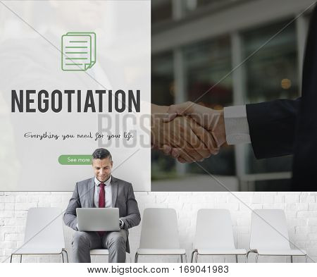 Negotiation word on business handshake background