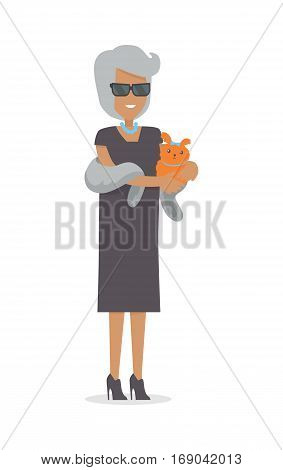 Rich woman in luxury fur isolated on white background. Beautiful lady with pet in stylish clothes. Middle aged woman in glasses and necklace. Vector illustration in flat style