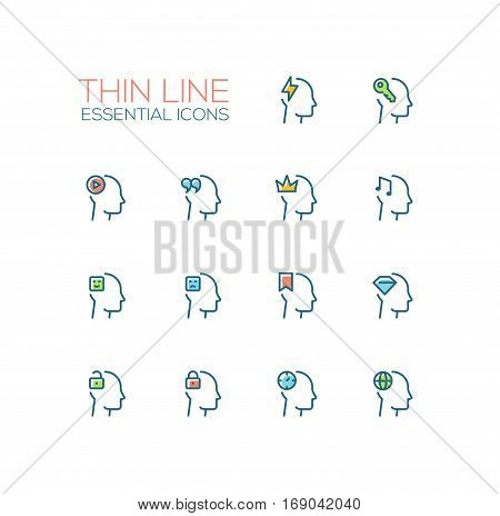 Thoughts Signs in Heads - modern vector simple thin line design icons and pictograms set with accent color. Head with flashlight, key, play button, quotes, crown, music, ribbon, diamond, lock, clock, globe. Material design concept symbols