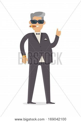 Rich man in expensive suit isolated on white background. Handsome guy in stylish clothes. Middle aged male in glasses smokes cigar. Cute cartoon character. Vector illustration