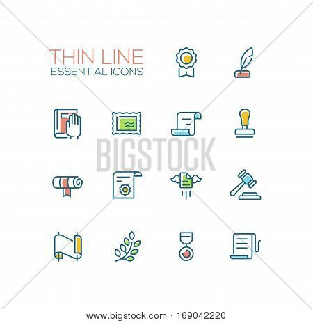 Law and Justice - modern vector simple thin line design icons and pictograms set with accent color. Badge, quill, oath, stamp, document, scroll, seal, gavel, medal, laurels. Material design concept symbols
