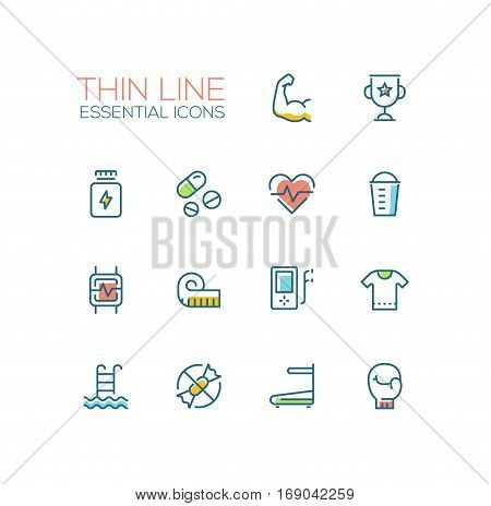 Sport training - vector thin line design icons and pictograms set with accent color. Strength, award, medicine, pulse, food, pulsometer, measuring tape, player, t-shirt, swimming, sugar free race track boxing glove. Material design concept symbols