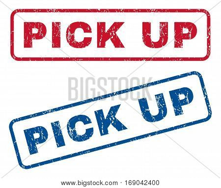 Pick Up text rubber seal stamp watermarks. Vector style is blue and red ink caption inside rounded rectangular shape. Grunge design and dust texture. Blue and red stickers.