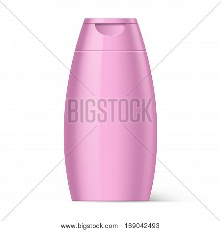 Pink Bottle of Shampoo Packaging Isolated on White Background