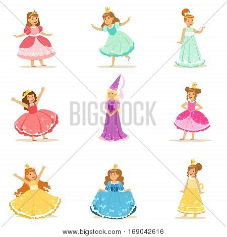 Little Girls In Princess Costume In Crown And Fancy Dress Set Of Cute Kids Dressed As Royals Illustrations.