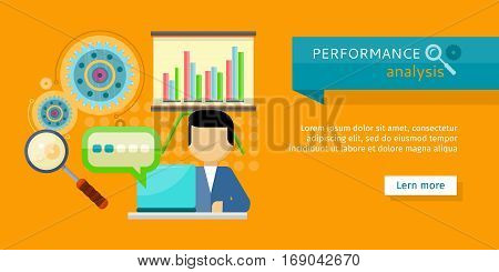 Performance analysis banner. Person working at laptop, making financial planning or generating report. Presentation of financial planning. Business man search for solutions infographics. Vector